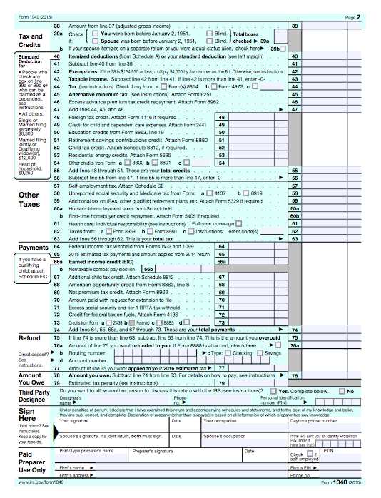 2015 federal tax instructions