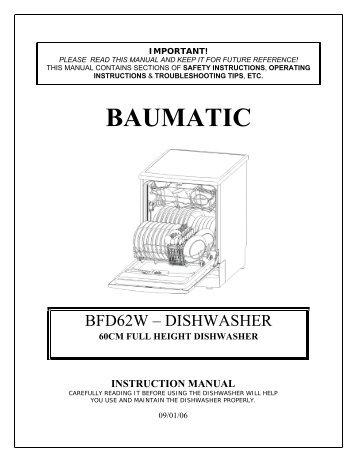 baumatic washer dryer instructions