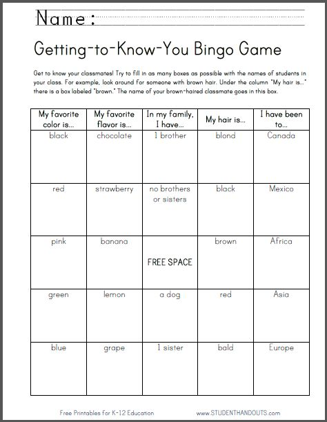 get to know you bingo instructions