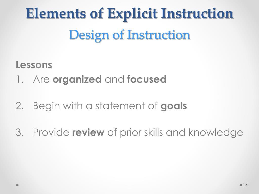 importance of explicit instruction